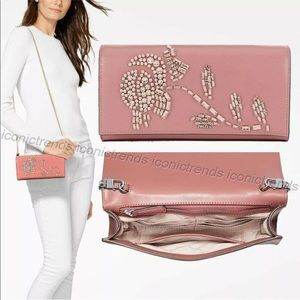 Michael Kors Bellamie Leather Clutch Rose Pink